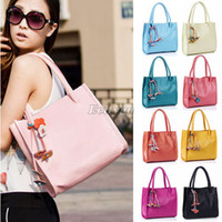 Wholesale Womens Ladies Pu Leather Flower Design Casual Shoulder Tote Bag Handbag bx12
