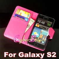 Wholesale 200pcs New Wallet Flip PU leather Case Cover With Credit Card Slot Slots Pouch For Samsung Galaxy S2 SII i9100