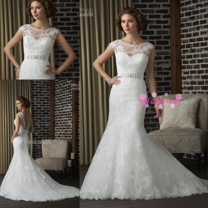 Mermaid Lace Wedding Dress Jewel Beaded Bow Open Back Court Train ...