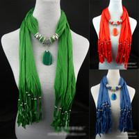 Wholesale New Fashion Women Beads Soft Jewelry Pendant Necklace Scarf Stole Shawl Neck Wrap Gift