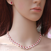 Wholesale wedding Diamond ruby crystal set necklace earings