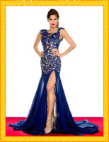 Wholesale HOT Sexy See top V neck Mermaid Royal Blue Lace Nude Chiffon Long Open Back Short Cap Sleeve Pageant Dress Evening Prom dresses gown