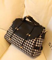 Wholesale British Style Fashion Women Houndstooth Bag Girl Woolen Shoulder Bags Leather Belt Packet Handbag Diagonal Package