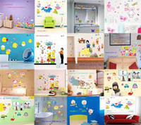 Wholesale Rabbit Monkey elephant Wall stickers Kids Room colorful Wall art Stickers cm Nursery Wall Decals Baby Room Wall Decor types