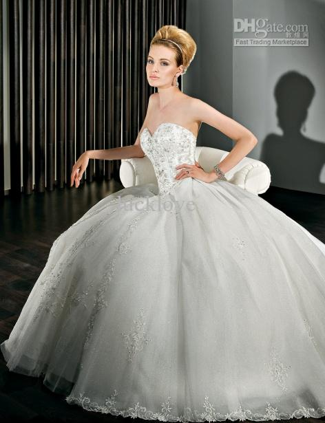 Appliques beaded sparkling tulle ball gown sweetheart for Around the neck wedding dresses