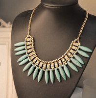 Wholesale Hot Sale Tassel Turquoise Drop Bib Collar Choker Necklaces With Shinning Diamond Party Jewelry GTX