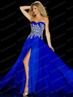 Wholesale 2013 Pageant Dresses Royal Blue Strapless Pleat Crystals Bead Embroidery Chiffon Front Slit Vintage Prom Evening Dresses P