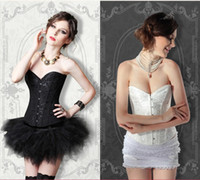 Wholesale royal court style sexy aulic underwear lady s corset bridal Bustier bride wedding corsetry black white red size XS XL send t short for free