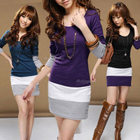 Round tunic - 2015 Newest Arrivals Ladies Women Multicolors Long Sleeve Striped Tunic Mini Skirt Bodycon Dress Qx18