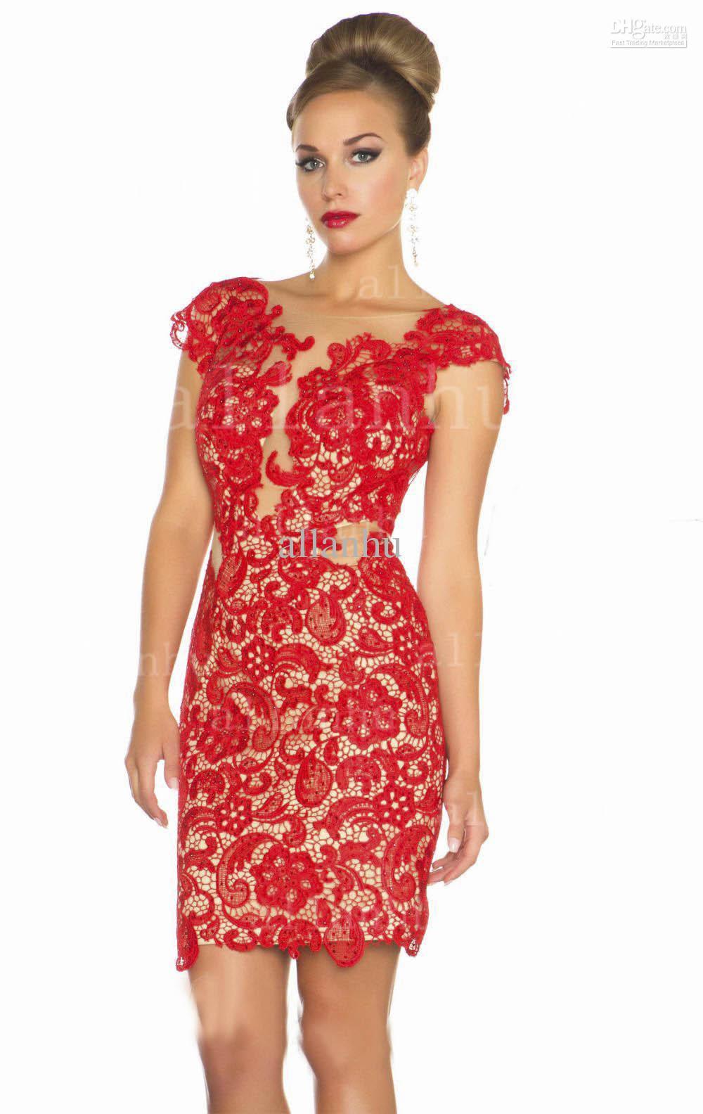 2013 new lace prom dresses v neck cap sleeve mini short backless