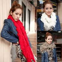 Wholesale New Fashion Womens Cut Out Knit Neck Circle Loop Cowl Snood Scarf Shawl Wrap Tassel Scarves