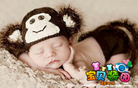6-9 Months Girl Winter Lovely Handmade Baby Crochet Monkey Hat + Diaper Covers short pant Beanie Toddler Costume Set Photography Props