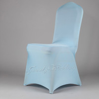 Wedding Chair Spandex / Polyester Baby Blue/ Light Blue Free shipping 1 piece Baby Blue Light Blue spandex chair cover High quality lycra chair cover for wedding or banquet party