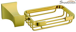Wholesale Whole Solid Brass Golden finishing Soap basket dish holder bathroom accessories