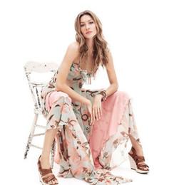 Wholesale 2015 Summer Women s Dress Sexy Printing Strapless Chiffon Sleeveless dress Bohemian Style Women Dress Long Graceful Braces