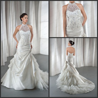 Garden Autumn/Spring Modern 2013 Demetrios 2860 Wedding Dress Mermaid White Transparent Neck Halter Beaded Sequin Layered Organza Taffeta Lace Up Chic Bridal Gown Dress