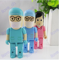 Wholesale 2GB GB GB GB GB Doctor Robot cartoon USB Flash Memory Pen Drive Sticks Thumb Drives Disks Pendrives Thumbdrives