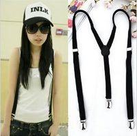Wholesale Women Clip on Braces Elastic Y back Suspenders Dof black