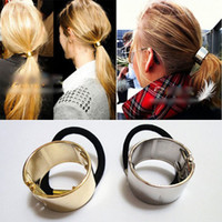 Ponytail Holder   New Fashion Elegant Hot Fashion Women Punk Metal Circle Hair Cuff Rope Band Hair Accessories 10Pcs Free Shipping