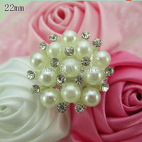 Wholesale 50pcs mm Clear elegant rhinestone button crystal button with pearl beads Jewelry accessory GZ011