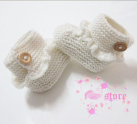 Wholesale 2013 Hot Sale Crochet Handmade baby infrant shoes white baby shoes prewalker for M babies pairs