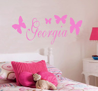 Wholesale 5pcs PERSONALISED BUTTERFLY WALL STICKER WITH ANY GIRLS NAME P401