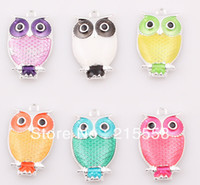 Women's assorted animals - 2013 NEW Assorted Silver Plated Owl Charms Enamel Alloy Pendant Fit Necklace DIY ZBE45