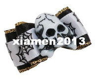 Wholesale Halloween Handmade Pet Dog Accessories Mix Skull Stone Charms Dog Bows Pet Dog Hair Clips Hair Flower pets Grooming