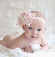 al por mayor bandas para el cabello-Caliente ! De los bebés para niños rosas preciosas perlas Bandas de pelo de las flores de la vendimia Accesorios del pelo bastante infantil Las vendas de las vendas de color 13 B0151
