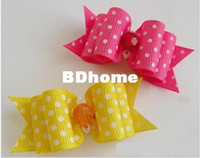Wholesale Handmade Accessories Pet Lovely Core Ribbon Bow tie Pet Hair Clip Pet Dog Hair Bows Dog grooming Charms