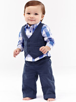 Wholesale Boy Set Lattice t shirt Vest waistcoat Pants boy gentleman suit kids set newborn gift set clothing