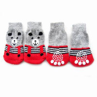 bear new shoes - Hot sale NEW Fashion Design Pet Dog Socks Gray Red Color Bear sets Xmas Gift