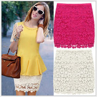 Wholesale Elegant Lace Hook Flower Hollow Out Ladies Women Beige White Rose Red Mini Skirt Western New