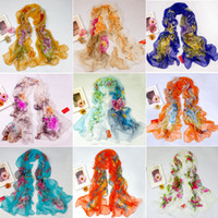 Wholesale 10pcs New Women s Fashion Georgette Long Wrap Shawl Beach Silk Scarf Colors Selected or Mixed
