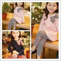 Wholesale 2013 New Arrival girls Autumn Cute Fine streak pc Set girls Clothing Baby Casual Set Hot Sale