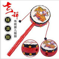 Wholesale Classic Children s Toys traditional Auspicious Patterns Small Rattle Rattle Baby Hand Drum