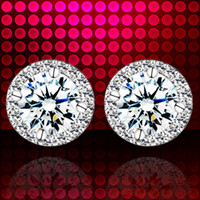 Wholesale Genuine Moissanite Diamond Silver Platinum Plated Earrings Platinum super flash disk earrings Korean birthday gift