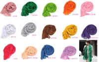 Wholesale Women Girl Long Crinkle Scarf Wrap Shawl Stole Pure Candy Colors