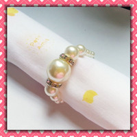 Wholesale Lowest price white Pearls Napkin Rings Wedding