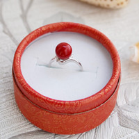 Wholesale Natural red coral sterling silver ring genuine sterling silver diamond ring can be adjusted true coral