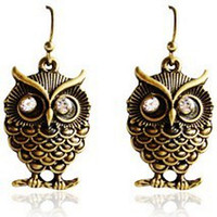 Wholesale On sale vintage dangled OWL women EARRING Earrings Studs Rhinestone eye fashion studs earring NICE