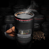 Wholesale Five Generation CPAM stainless steel liner travel thermal Coffee camera lens mug cup with hood lid ml high capacity caniam not canon