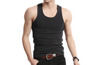 Wholesale Summer hot selling woven cotton rib knitting men s tank Tops long design M4001
