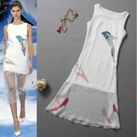 Wholesale 2013 casual dresses Printed High heeled shoes pattern Beading Chiffion Dress JY0214
