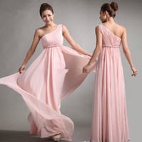 Ruffle Sleeveless One-Shoulder Wholesale - 2013 Bridesmaid Dresses Sweet princes Greek Style Goddess One-shoulder Bare Pink Party Dress Prom Gowns Fast Delivery