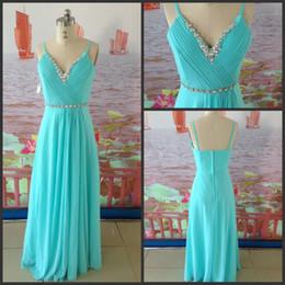 Wholesale Actual picture aqua color v neck floor length crystal chiffon prom dress WH298