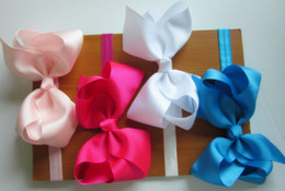 Wholesale 6inch big ribbon bows hair bow with soft headband baby headband hair accessory hairband