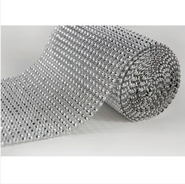 Wholesale 4 quot x10 Yards Rows ColorsDIAMOND MESH WRAP ROLL SPARKLE RHINESTONE Crystal Ribbon