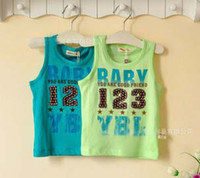 Boy 18-24 Months 12M-24M-36M Kids Sleeveless T Shirt Fashion Printed Tank Tops Baby Clothing Children Tank Tops Infant Wear Boys Summer Green Casual Vest Toddler Clothes