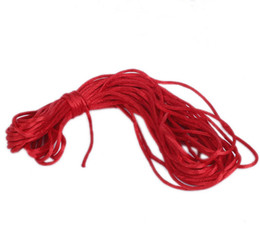 Wholesale 2mm Dia Red Nylon Satin Rattail Chinese Knotting Beading Macrame Cords Rope Threads Bracelet Craft Jewelry Making m Free P amp P NF1